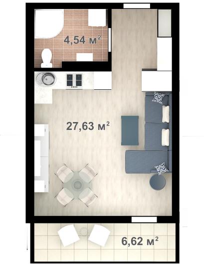 Планировка квартиры Б703 в новостройке ЖК Ласточкино Гнездо (Гаспра)